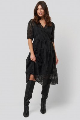 NA-KD Trend NA-KD Trend Short Puff Sleeve Wrap Dress - Black