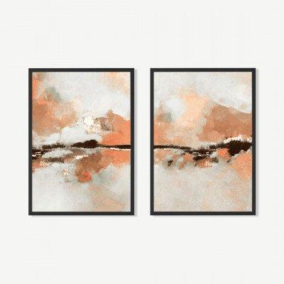 MADE.COM Dungeness Horizon, set van 2 ingelijste prints, door Kimberly Godfrey, A2
