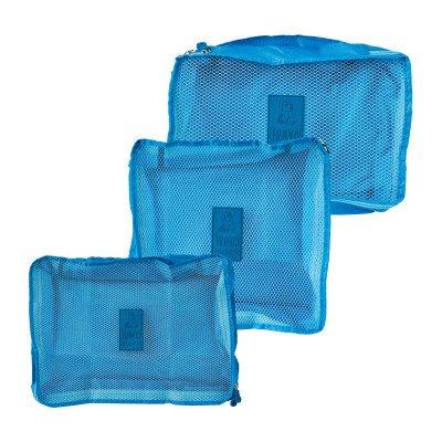 Xenos Koffer organizers - blauw - set van 3
