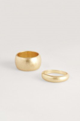 NA-KD Accessories NA-KD Accessories Dubbelpack Dikke Ringen - Gold