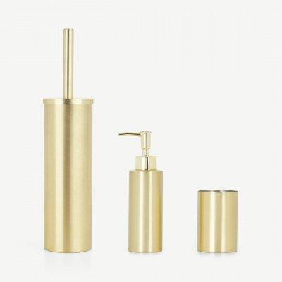 MADE.COM Lilo set met een toiletborstel, zeepdispenser en beker, geborsteld messing