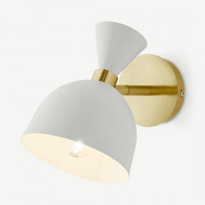 MADE.COM Keeva wandlamp, creme en geborsteld messing