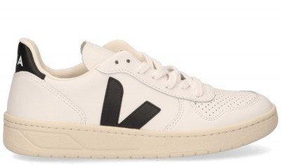VEJA VEJA V-10 Leather Wit/Zwart Damessneakers
