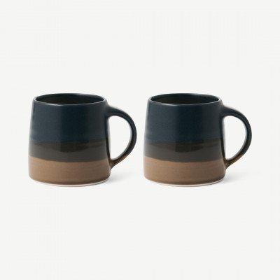 MADE.COM Kinto set van 2 mokken, 320 ml, zwart met bruin