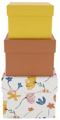 HEMA HEMA Opbergdoos Karton Bloemen Oranje - 3 Stuks