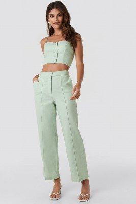 Queen of Jetlags x NA-KD Queen of Jetlags x NA-KD Linen Mix Regular Suit Pants - Green