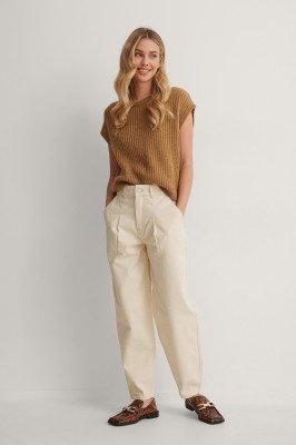 NA-KD Trend NA-KD Trend Jeans Met Plooien Op De Voorkant - Offwhite