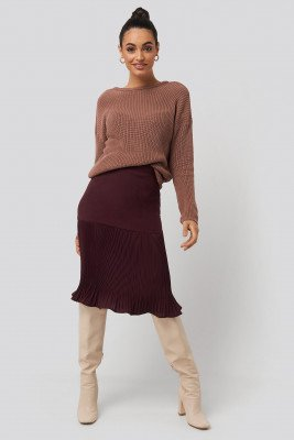 NA-KD Pleated Detail Skirt - Red