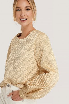 NA-KD Trend NA-KD Trend Quilted Balloon Sleeve Blouse - Beige