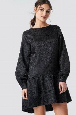 NA-KD Party NA-KD Party Dip Hem Jacquard Dress - Black