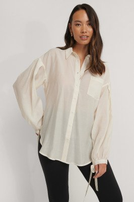 NA-KD Trend NA-KD Trend Oversized Shirt Met Ballonmouwen - Offwhite