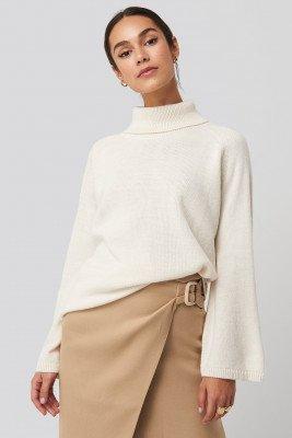 NA-KD High Neck Wide Sleeve Sweater - White