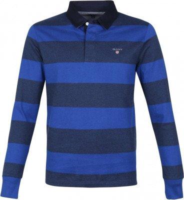 Gant Gant Polo Poloshirt Rugger Strepen Cobalt Blauw