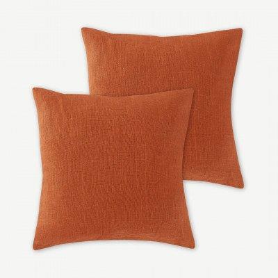 MADE.COM Adra set van 2 kussens, 100% linnen, 50 x 50 cm, cayenne rood