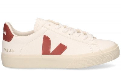 VEJA VEJA Campo Chromefree Leather Wit/Rood Damessneakers