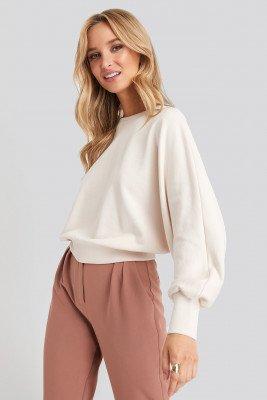 NA-KD NA-KD Batwing Sleeve Sweatshirt - Beige