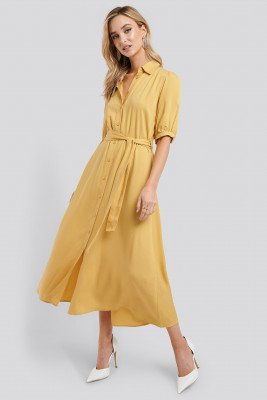 NA-KD NA-KD Puff Sleeve Belted Midi Dress - Yellow