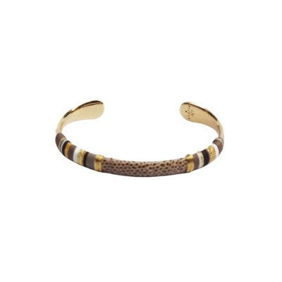 Gas Bijoux Massai BIS Bracelet Brown Gold Plated