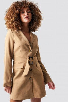 Statement By NA-KD Influencers Statement By NA-KD Influencers Wide Belted Blazer Dress - Beige