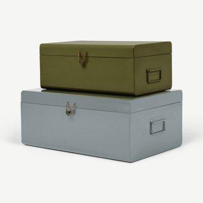 MADE.COM 2 x Daven koffers met leren gesp