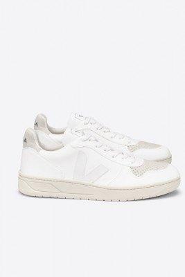 Veja Veja unisex vegan Sneaker V-10 Wit Wit 39 Biologisch katoen/Gerecycled plastic (visnetten, flesjes, nylon, polyester)/Natuurlijk rubber/Rubber