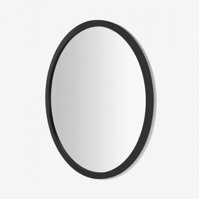MADE.COM Keily ronde wandspiegel, 90 cm, zwart