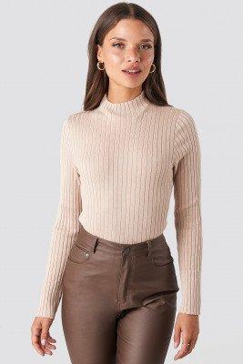 NA-KD NA-KD Ribbed Knitted Polo Sweater - Beige