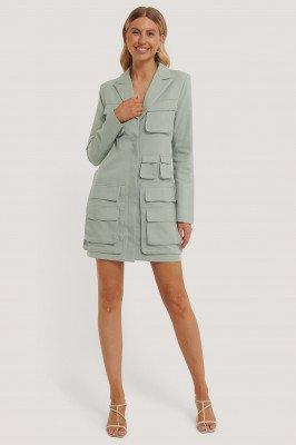 NA-KD Trend Pocket Blazer Dress - Green