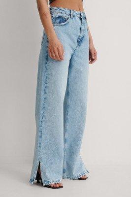 NA-KD Trend NA-KD Trend Vintage Look Brede Jeans Met Zijsplit - Blue