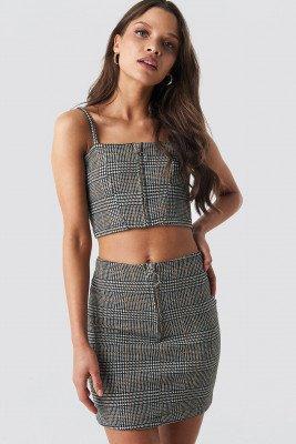 NA-KD Co-ord Check Mini Skirt - Grey,Multicolor