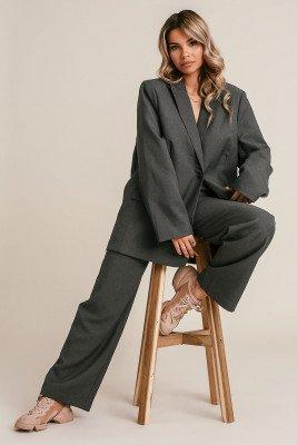 Monica Geuze x NA-KD Monica Geuze x NA-KD Pantalon Met Rechte Pijpen - Grey