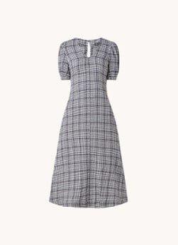 Whistles Whistles Tabitha midi jurk met ruitprint en pofmouw