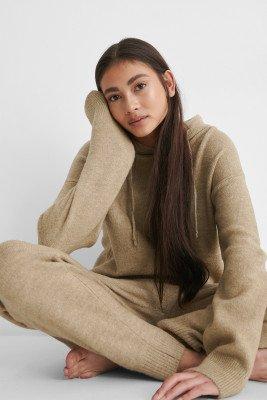 NA-KD NA-KD Knitted Trousers - Beige