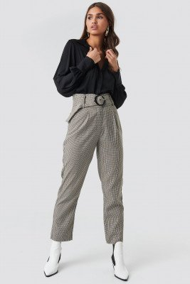 NA-KD Classic NA-KD Classic Dogtooth Asymmetric Belted Suit Pants - Grey