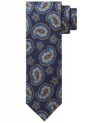 Profuomo Profuomo heren navy zijden print stropdas