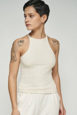 nu-in Ribbed Racerneck Top / XXS / Ivory