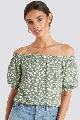 Trendyol Off Shoulder Patterned Top - Green