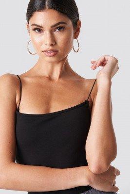 Nicki x NA-KD Spaghetti Strap Singlet - Black