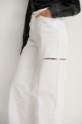 NA-KD Reborn NA-KD Reborn Organisch Wijde Jeans Met Uitgesneden Detail - White