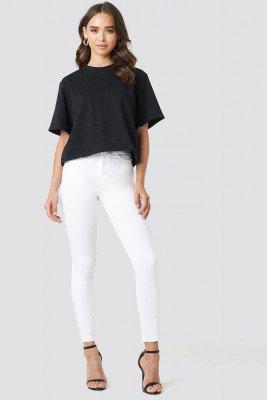 NA-KD NA-KD Skinny High Waist Raw Hem Jeans - White