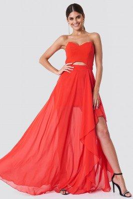 Trendyol Strapless Asymmetrical Maxi Dress - Red