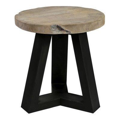 Firawonen.nl Rixx teak wooden stool iron base round