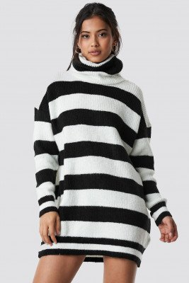 Trendyol Trendyol Turtleneck Striped Sweater - Black,White,Multicolor
