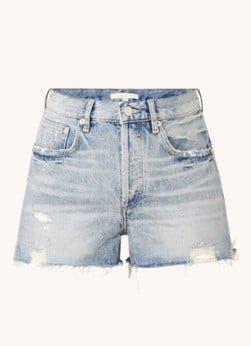 Maje Maje Instinct high waist straight leg korte broek met ripped details