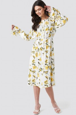 NA-KD Boho NA-KD Boho Tie Sleeve Midi Dress - Multicolor