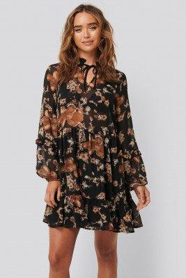 NA-KD Boho Tie Neck Flowy Mini Dress - Brown