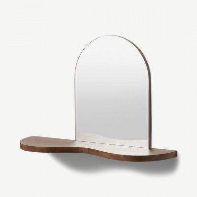 MADE.COM Melissa spiegel met opbergplank, mangohout