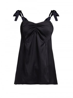 Colville - Ruched Satin Top - Womens - Black