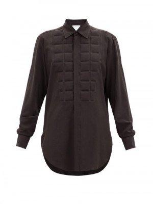Matchesfashion Bottega Veneta - Quilted Silk Crepe De Chine Shirt - Womens - Brown
