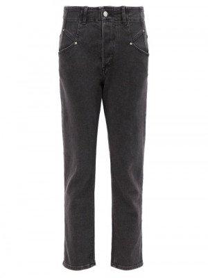 Matchesfashion Isabel Marant - Dilianesr High-rise Cropped Slim-leg Jeans - Womens - Black